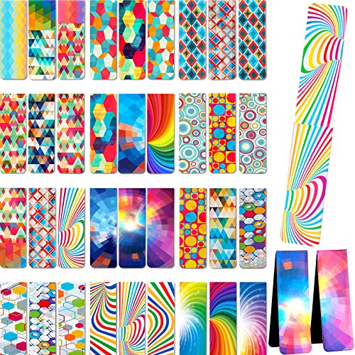 36 Pieces Optical Magnetic Bookmarks Laminated Magnet Book Markers Colorful Magnetic Page Clips Bookmarks for School Office Teacher Student Classroom Stationery Supply, 18 Designs