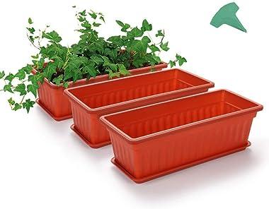 MMBOX Lot de 3 pots de fleurs en plastique de 43,2 cm avec 15 étiquettes pour plantes, pour rebord de fenêtre, terrasse, jard