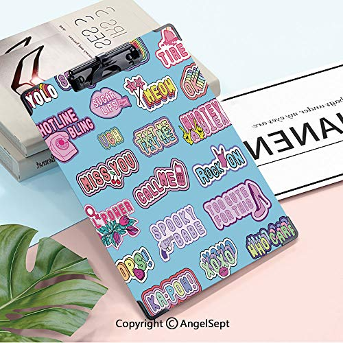 A4 Clipboard paper clips,Seamless Pattern With Patches,Words (Lol,Yolo,Meow,Xoxo,Whatever,Etc) And Various Elements (Lips,Hearts,Rainbows,Cell Phones,High Heel Shoes,Etc) Blue Background,A4,8.85'x12.5