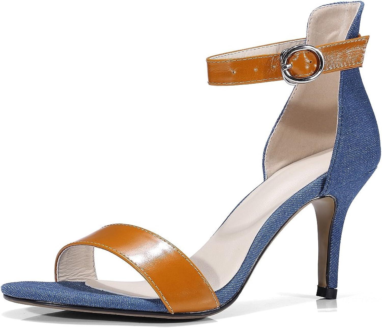 MINIVOG Womens's Open Toe Ankle Strap Middle Stiletto Heel Sandals