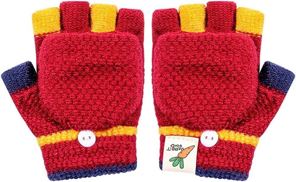 Kacota Kids Winter Flip Top Gloves Knitted Mittens Gloves Boys Girls 3-6 Years