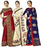 Pack de 3 sari para mujer Mysore Art Silk Printed Indian Gift Sari | Sari de boda y blusa sin costura