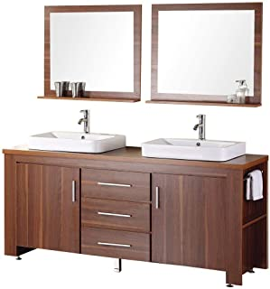 Design Element Washington Double Drop-In Vessel Sink Vanity Set with Three Drawers and Toffee Finish, 72-Inch