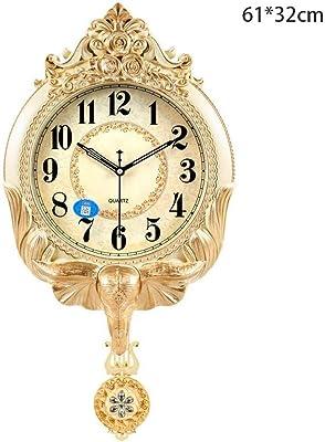 壁時計、ヨーロッパの牧歌的な創造的な壁時計ヨーロッパの時計/モダンなリビングルームミュート時計/装飾装飾品象水晶時計 (Color : White Crack Color)