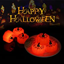 OSALADI Halloween Pumpkin Flameless Candles Light Decoration Glow Night Durable Pumpking Design Halloween Jack-O-Lantern f...