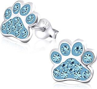 Laimons Kids Bijou boucles d'oreilles pour enfant patte de chien coloré strass argent sterling 925