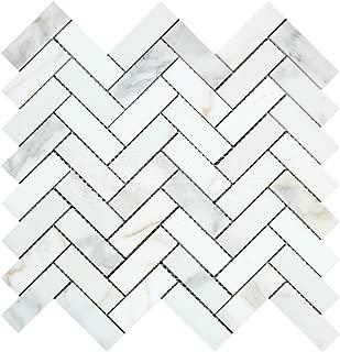 Calacatta Gold (Italian Calcutta) Marble 1 X 3 Herringbone Mosaic Tile, Polished