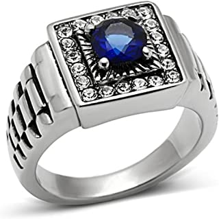 Men's Fashion Jewelry Ring, Premium Grade High Quality Stainless Steel Blue Synthetic Stone, by Classy Not Trashy®