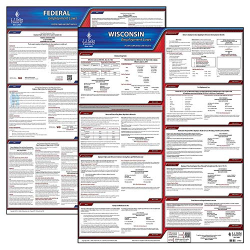2020 Wisconsin State and Federal Labor Law Poster Set (English, WI State) - OSHA Compliant Laminated Posters - Includes FFCRA Poster