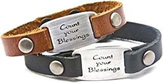 DIllon Rogers Count Your Blessings Men's Leather Bracelet with Metal I.D. Style Charm - Black or Brown