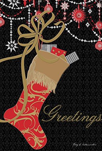 Toland Home Garden Glitzernder Strumpf 32,5 x 45,7 cm dekorative Weihnachtsdekoration Geschenk Grüße Gartenflagge