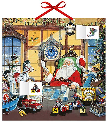 Adventskalender Weihnachtsmann – mit 24 Stickern – mit Glitzer – mit rotem Stoffband – Format 30 x 30 cm