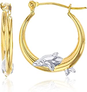 14K Yellow Gold High Polished Dolphins Hoop Earrings with Hinged Clasp | Dolphin Jewelry | Earrings For Sensitive Ears | B...