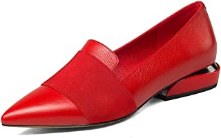 a1a7c070f6ae Nine Seven Women s Pointed Toe Flat Low Heel Slip On Handmade Leather  Concise Dress Business Pumps