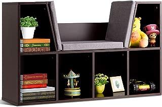 Costzon 6-Cubby Kids Bookcase w/Cushioned Reading Nook, Multi-Purpose Storage Organizer Cabinet Shelf for Children Girls & Boys Bedroom Decor Room (Brown)