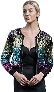 Rainbow Sparkly Sequin Loose Cover Up Long Sleeve Open Front Cardigan Coat Dress for Women's Clubwear(FBA)
