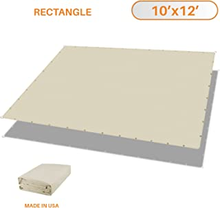 TANG Sunshades Depot 10'x12' Waterproof Rectangle Sun Shade Sail 220 GSM Beige Straight Edge Canopy with Grommet UV Block Shade Fabric Pergola Cover Awning Customize Available