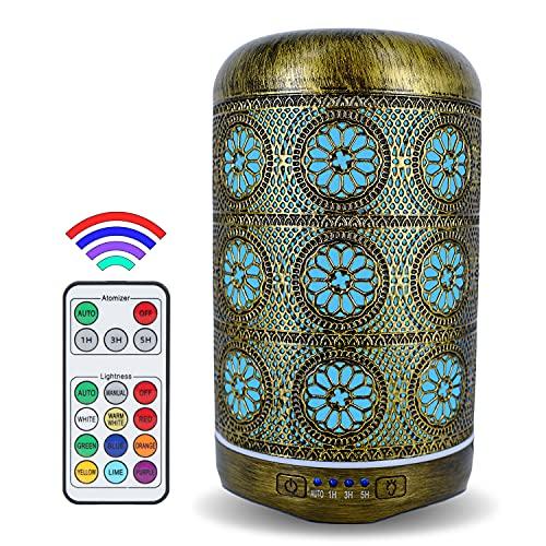 |Aida| Aroma Diffuser Luftbefeuchter mit Fernsteuerung aus Metall Defuser Luft ätherische Öle Duftöl Ultraschall Raumduft 250 Milliliter Duft öl Aromatherapie mit 7 Farben