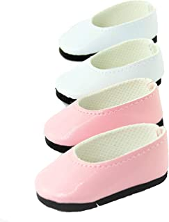 American Fashion World 2 Pack of Slip on Shoes: White and Pink  Fits 14