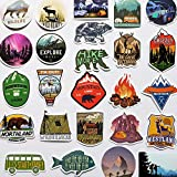 50Pcs Funny Camping Vinyl Stickers for Cars Wildlife Hiking Decals Backpacking Campfire Stickers for RV Waterbottle