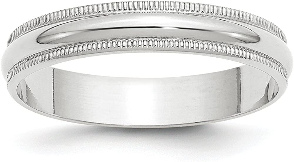 14k White Gold 4mm Milgrain Baltimore Mall Plain Ring Band Wedding Dome Classic At the price