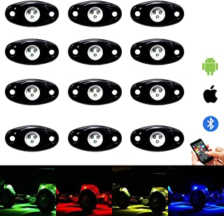RGB Led Rock Lights Kit - 12 Pods Led Interior Rock Light with Bluetooth Control 15 DIY Colors & Timing & Music & Flashing Neon Lights for Offroad Jeep Truck UTV SUV ATV Motorcycle (12pods)