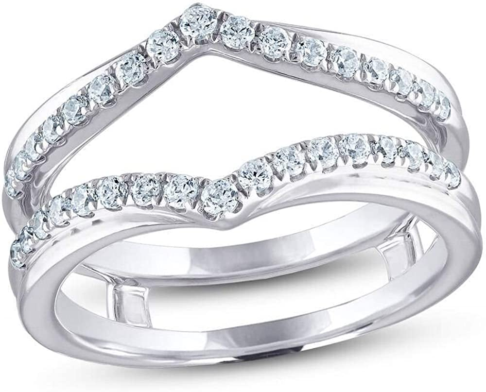 Jewelry Star 14K White Gold Fees free!! Max 70% OFF Plated Cubic Round Silver Cut in Zir