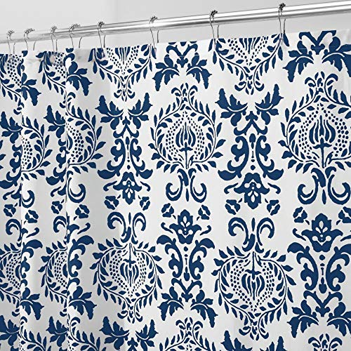 """mDesign Long Decorative Damask Print - Easy Care Fabric Shower Curtain with Reinforced Buttonholes, for Bathroom Showers, Stalls and Bathtubs, Machine Washable - 72"""" x 84"""" - Navy Blue/White"""