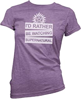 Id Rather Be Watching Supernatural Women's Junior Fit Shirt