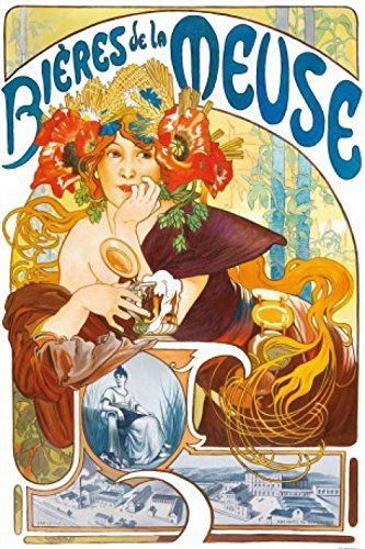 1art1 Alphonse Mucha - Biere Von Der Maas, 1897 Selbstklebende Fototapete Poster-Tapete 180 x 120 cm
