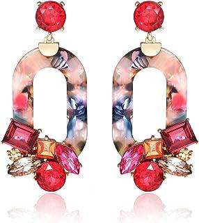 BSJELL Acrylic Resin Dangle Earrings for Women Statement Floral Tortoise Shell Hoop Earrings Crystal Multicolor Oval Geometric Drop Earrings Fashion Jewelry