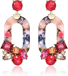 Acrylic Resin Dangle Earrings for Women Statement Floral Tortoise Shell Hoop Earrings Crystal Multicolor Oval Geometric Drop Earrings Fashion Jewelry