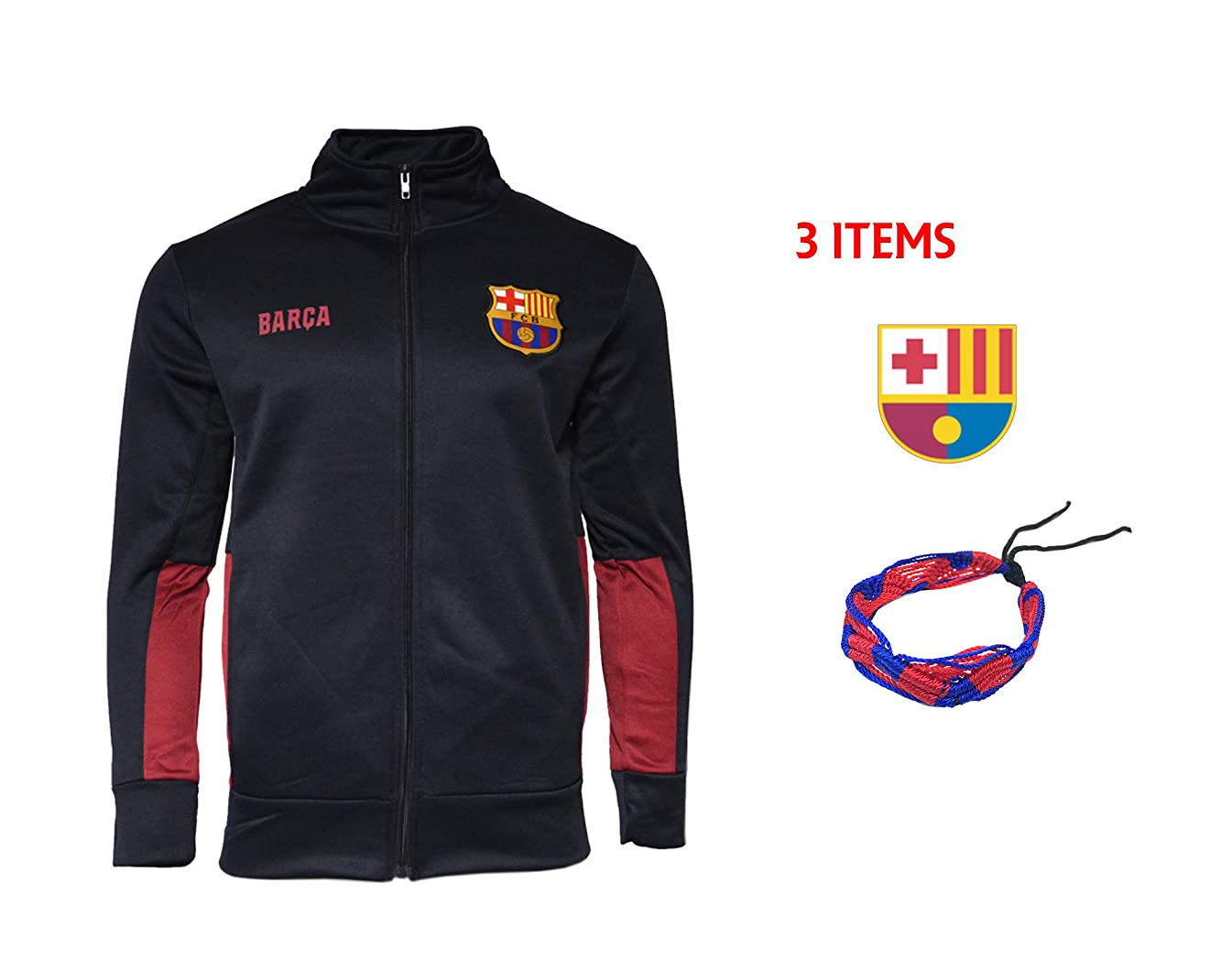 FC Barcelona Zip Up Jacket Hoodie Black Fleece Youth Boys Licensed & Sticker