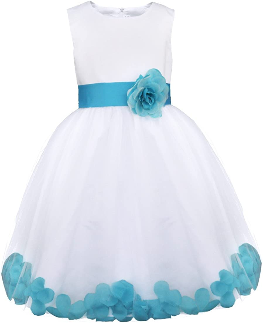 MSemis Kids Flower Girls Petals Dress Wedding Bridesmaid Pageant Formal Tulle Dress with Bow Tie Sash