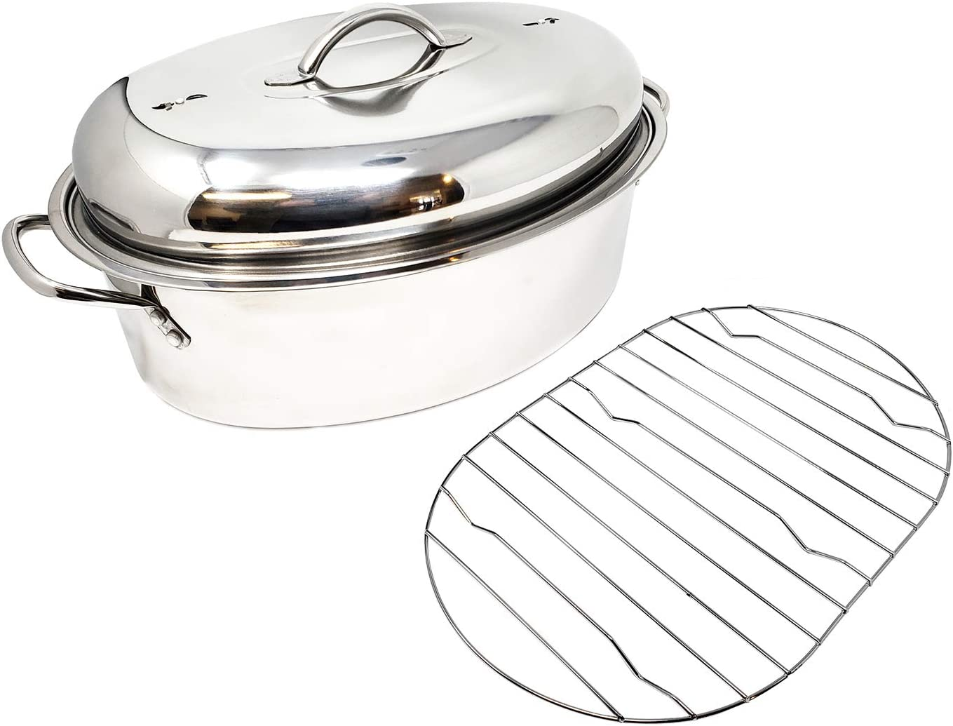 Stainless Steel Luxury goods Oval Max 50% OFF Lidded Roaster Large Extra Pan Lightweigh