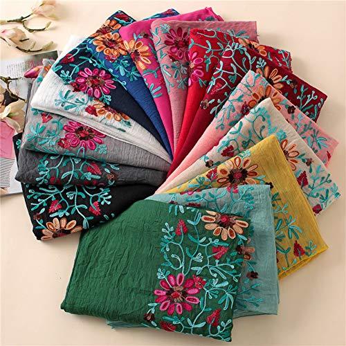 TankMR Flor bordada bufanda de algodón de las mujeres abrigo largo pañuelo pañuelos chica mantón de regalo