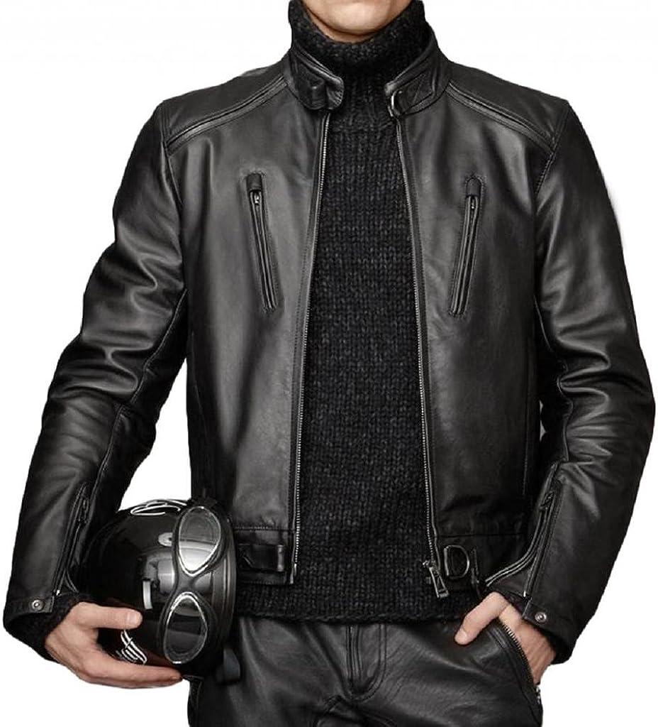 New York Leather Leather Bomber Men's Slim Fit Lambskin Biker Motorcycle Jacket