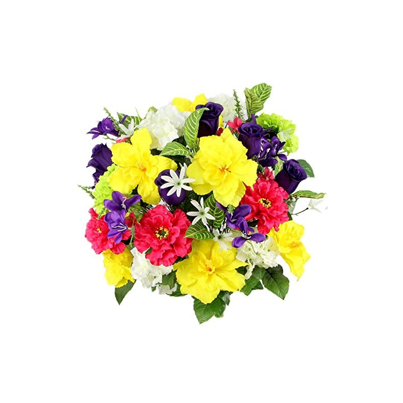 silk flower arrangements admired by nature artificial hibiscus with rosebud, freesias & fillers flower mixed bush for home, office, restaurant & wedding arrangement, yellow/velvet/violet/cream, 36 stems