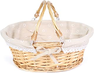 MEIEM Wicker Basket Gift Baskets Empty Oval Willow Woven Picnic Basket Cheap Easter Candy Basket Storage Wine Basket with Handle Egg Gathering Wedding Basket (Natural)