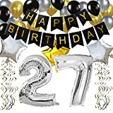 """KUNGYO Clásico Decoración de Cumpleaños -""""Happy Birthday"""" Bandera Negro;Número 27 Globo;Balloon de Látex&Estrella, Colgando Remolinos Partido para el Cumpleaños de 27 Años"""