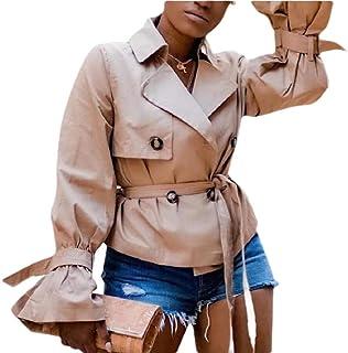 desolateness Women Double Breasted Windbreaker Jacket Short Belt Trench Coat
