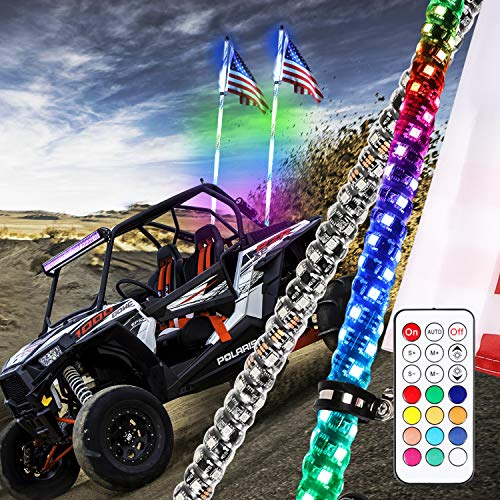 Niwaker 2Pcs 5ft LED Whip Lights with RF Remote Control 360°Spiral Lighted Whips RGB Dancing/Chasing Light Antenna LED Whips for UTV ATV Polaris Off Road Truck RZR Jeep Buggy Dune 4X4 SXS