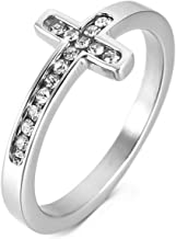 INBLUE Women's Stainless Steel Ring Band CZ Silver Tone Cross Wedding