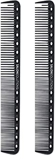 SALONSOLUTIONS Professional Carbon Fiber Precision Cutting Comb Anti-static and Heat Resistant (2 PCS)