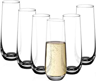 Amisglass Verres à Jus et Soda, Verres à Champagne Gobelet Cristal de 6 Pcs sans Plomb, Verres à Cognac Collection Avant-G...