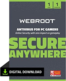 Webroot Antivirus Protection and Internet Security Software for PC Gamers   1 Year   1 Device   PC Download