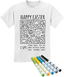 Happy Easter Coloring Kit with Fabric Markers I Spy Toddler Kids T-Shirt
