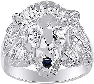 Increíble anillo de plata de ley 925 con cabeza de león de zafiro azul para iniciar conversaciones