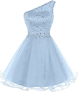Juniors Aline One Shoulder Beaded Prom Dress 2018 Short Tulle Homecoming Party Dress Mini