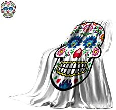 Sugar Skull Decor Super Soft Lightweight Blanket Polish Folk Art Style Mexican Sugar Skull Design Ethnic Carnival Theme Oversized Travel Throw Cover Blanket 80